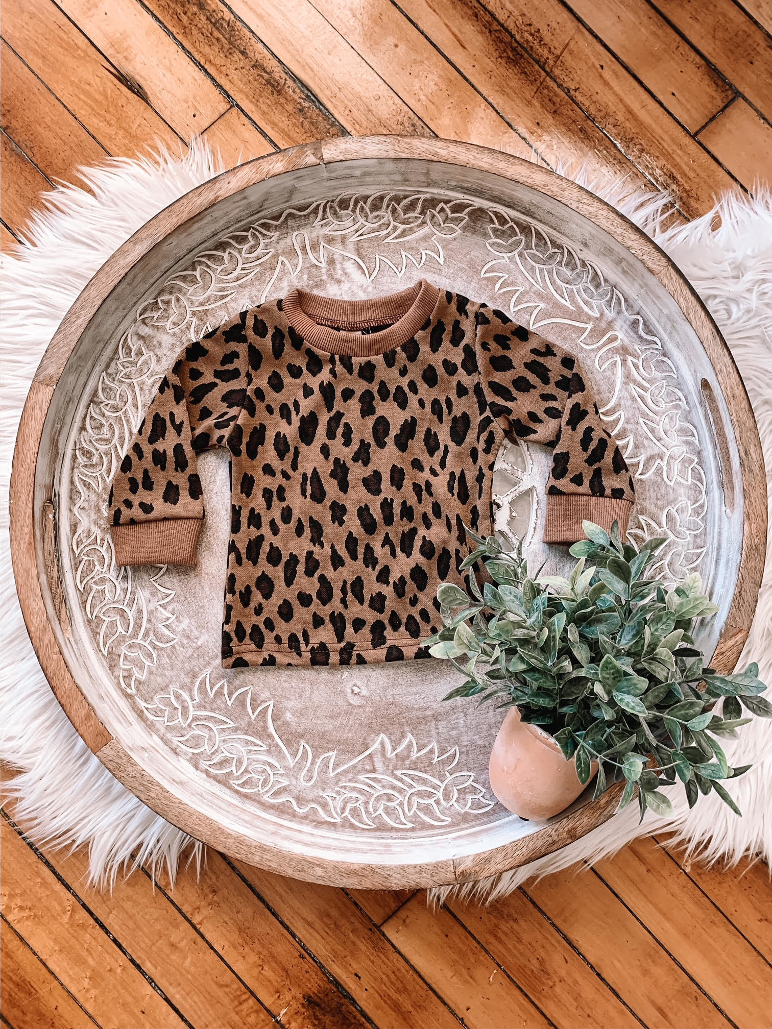 Toddler Brown Leopard Sweater