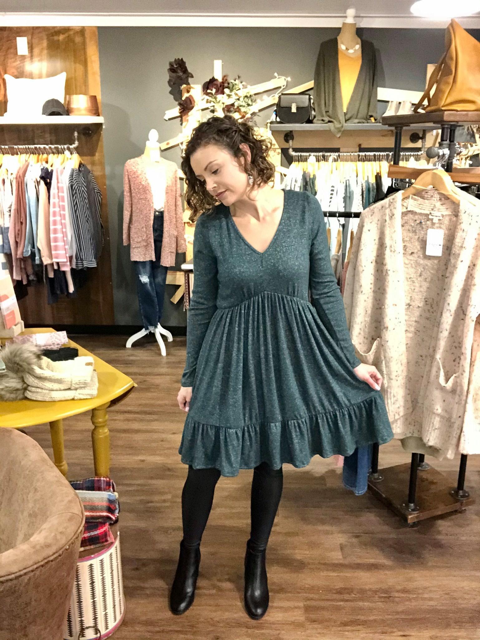 Hunter Green Ruffle Dress