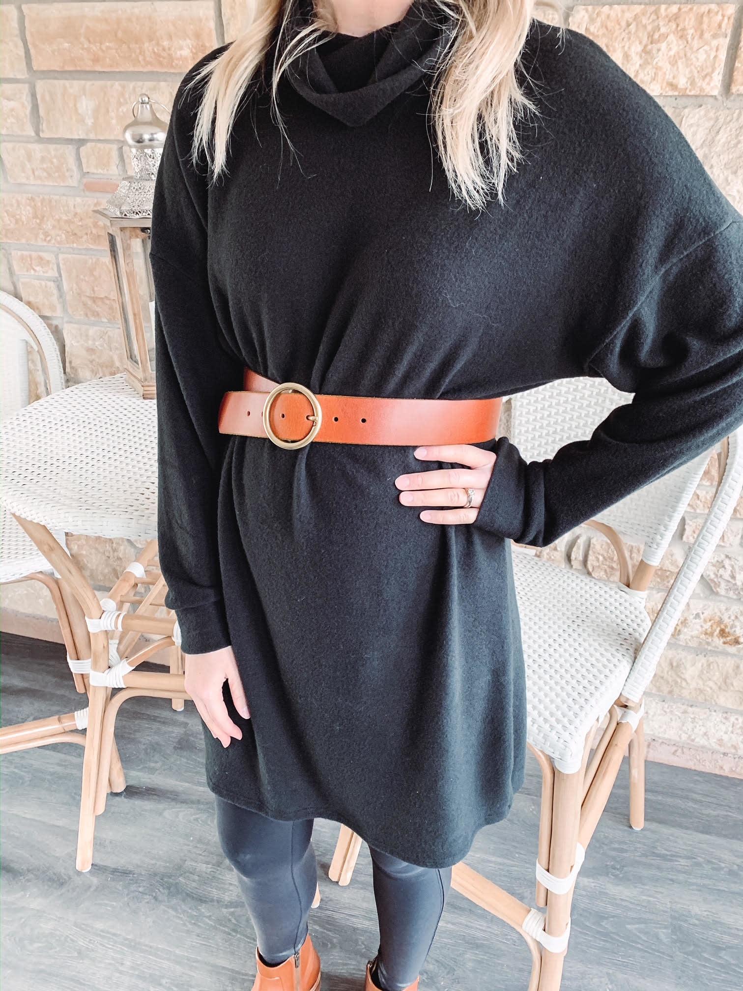 Ellie Black Turtleneck Dress