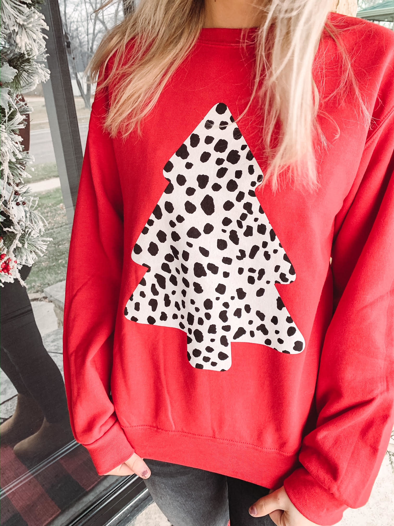 Dalmatian Tree Christmas Crew Neck