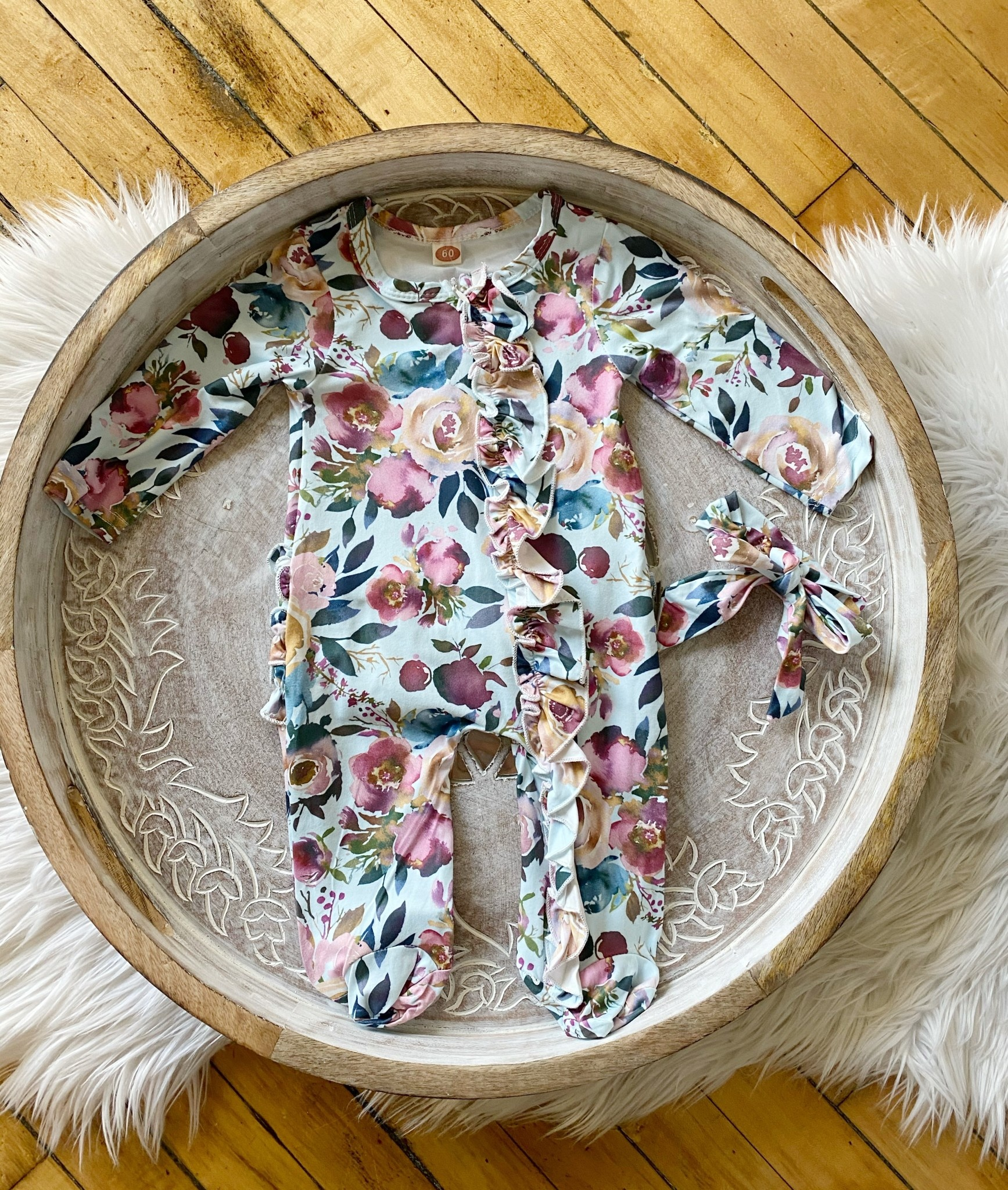 Infant Floral Jumpsuit + Bow