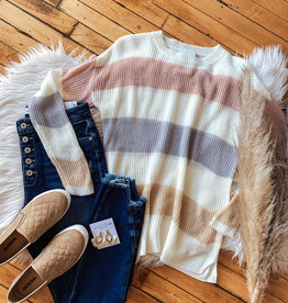 Blush + Oatmeal Color Block Sweater