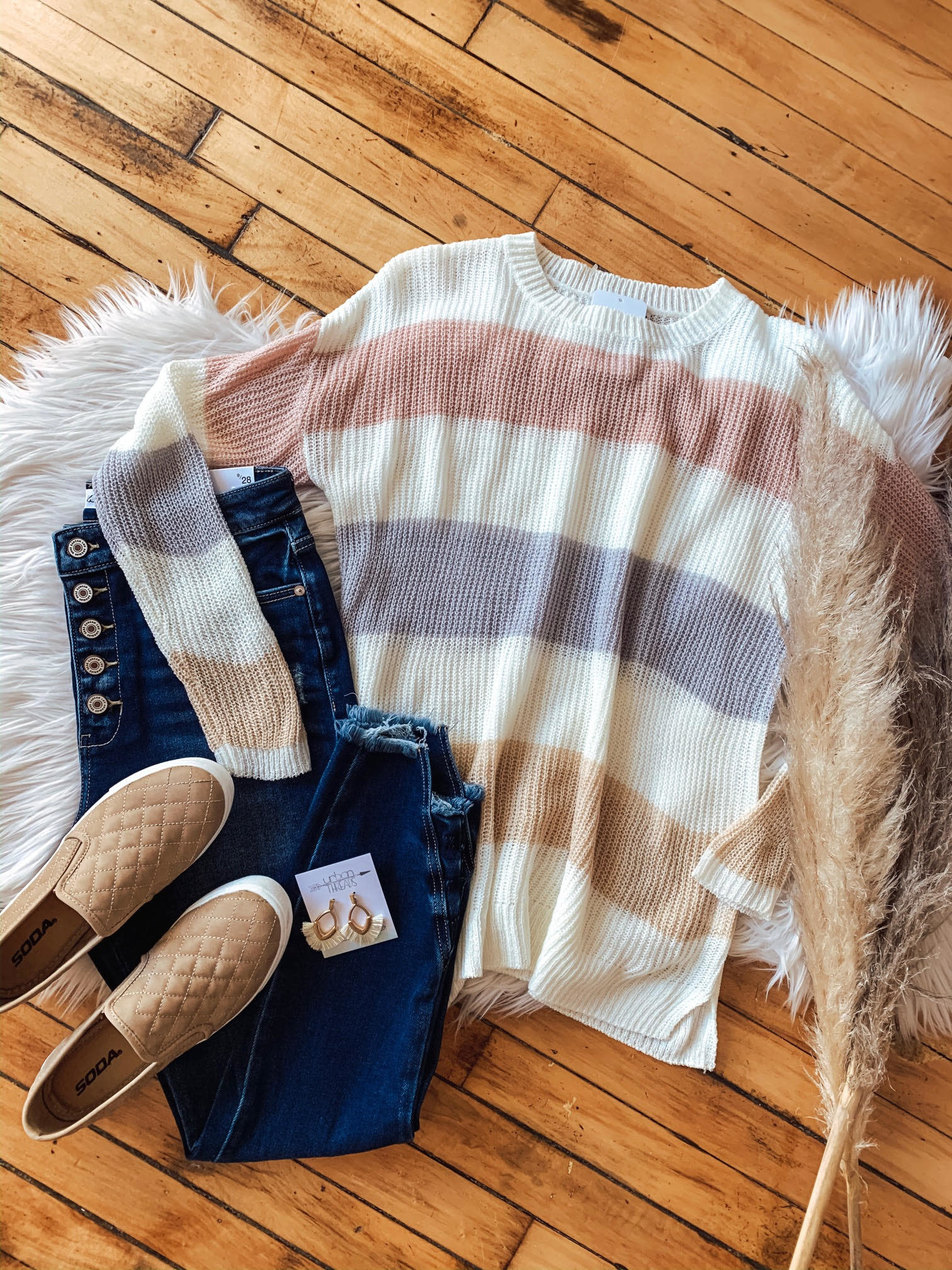Blush + Oatmeal Color Block Sweater