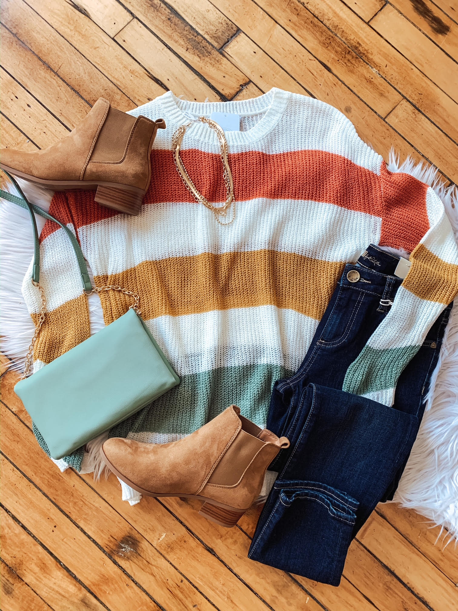 Coral + Olive Color Block Sweater