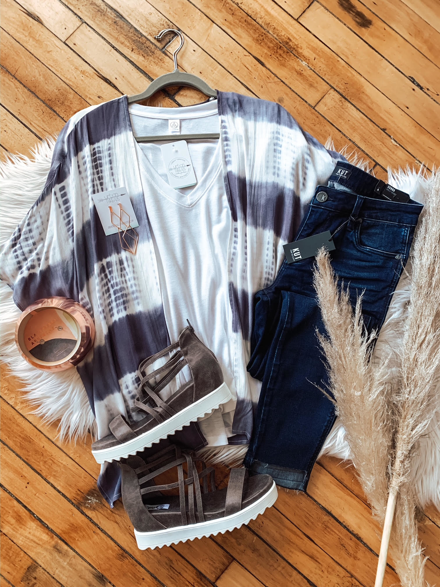 Lily Charcoal Tie Dye Kimono
