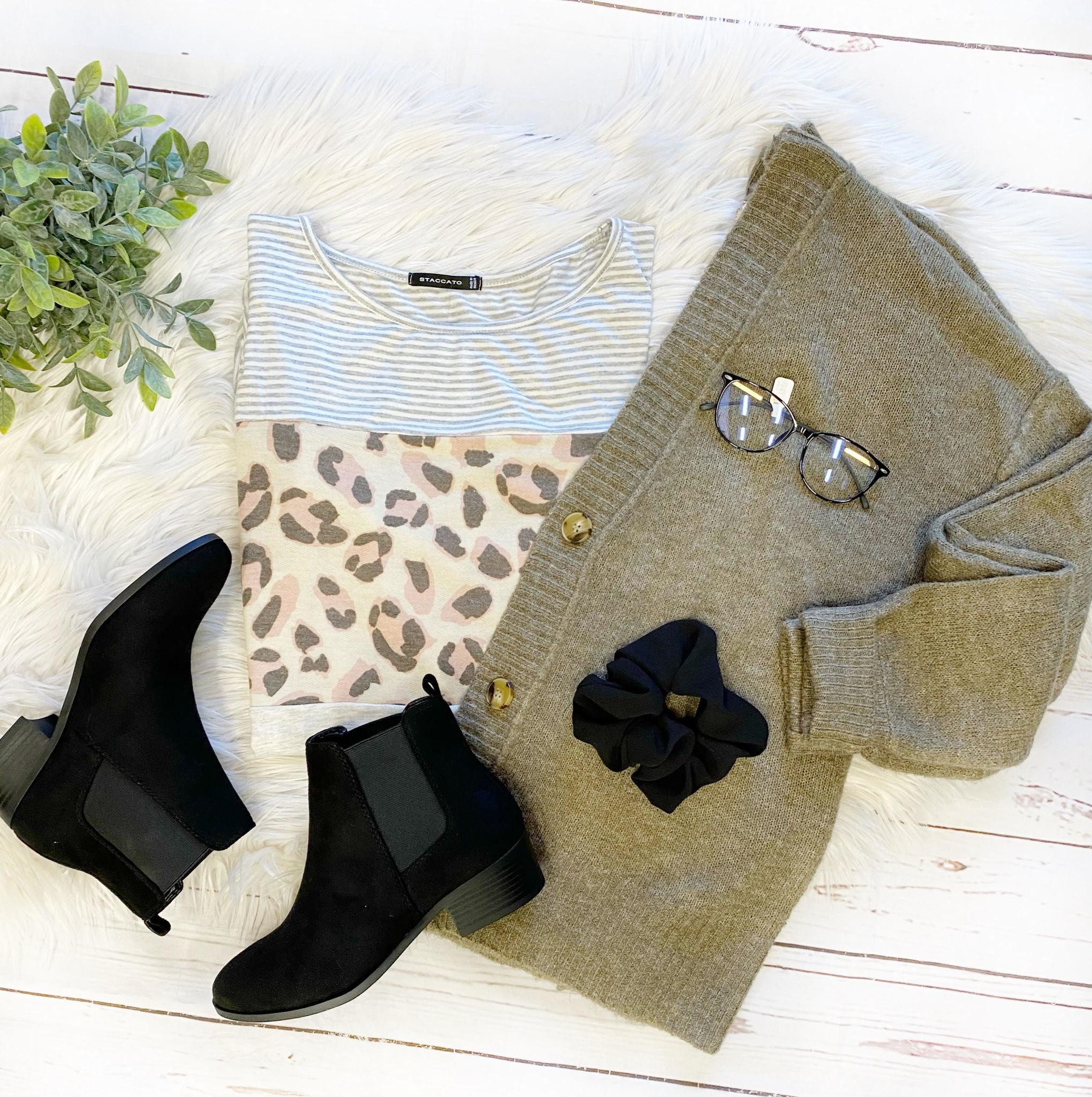 Taylor Leopard Color Block Top