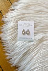 Silver Teardrop Stud Earrings