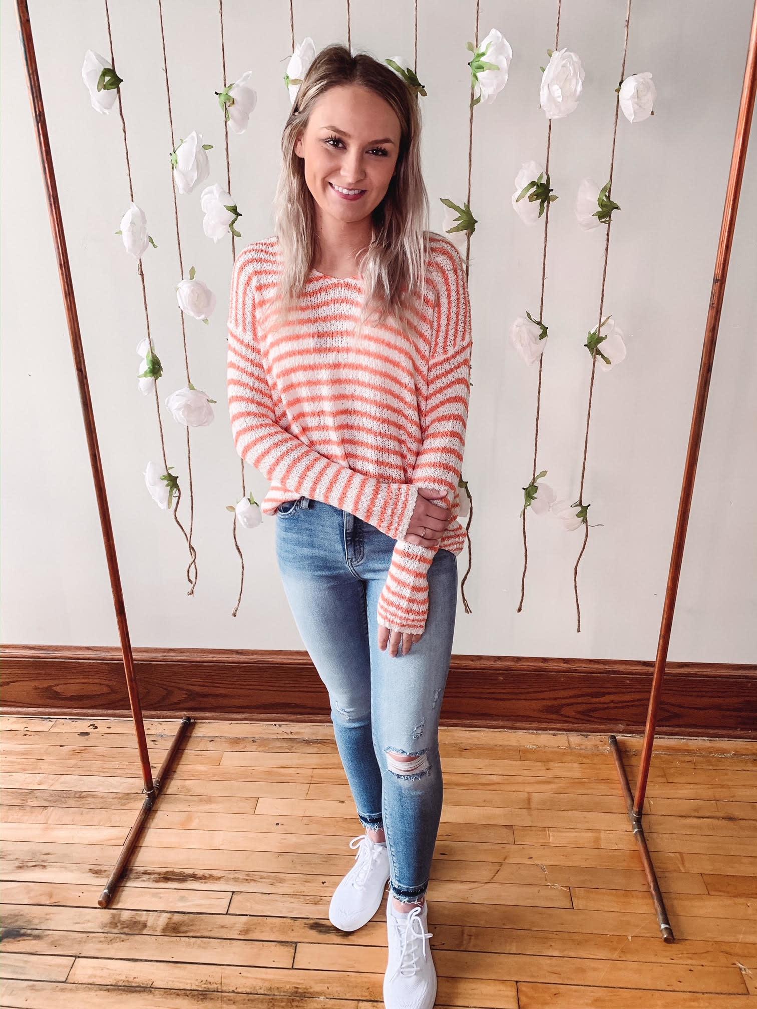 Kali Peach Striped Sweater