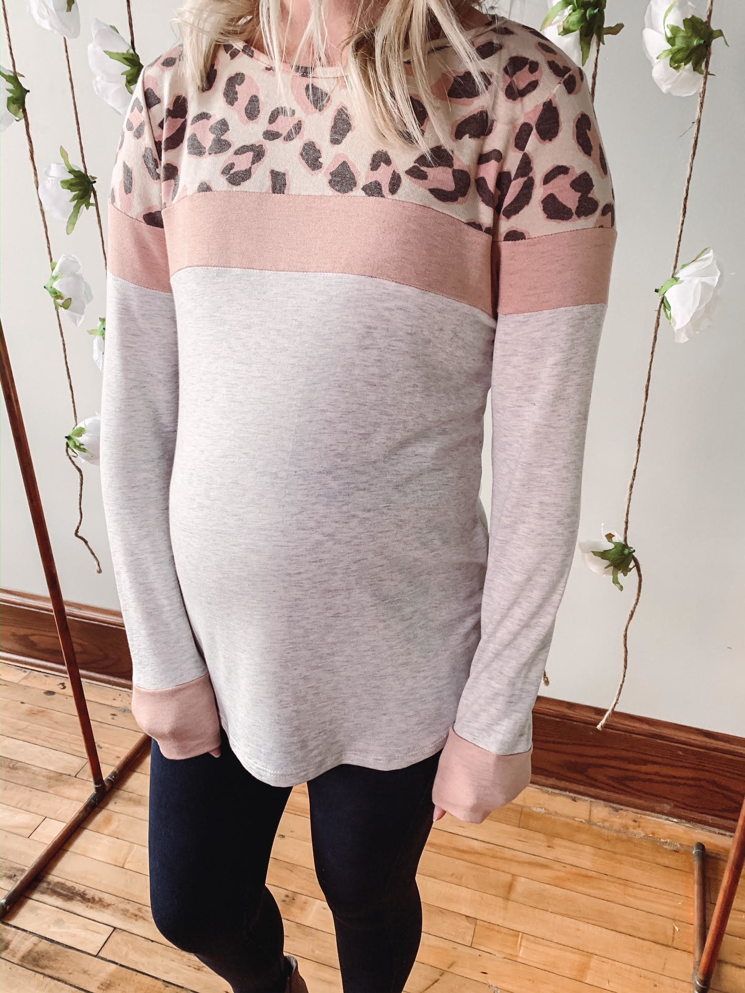 Liz Leopard Color Block Top