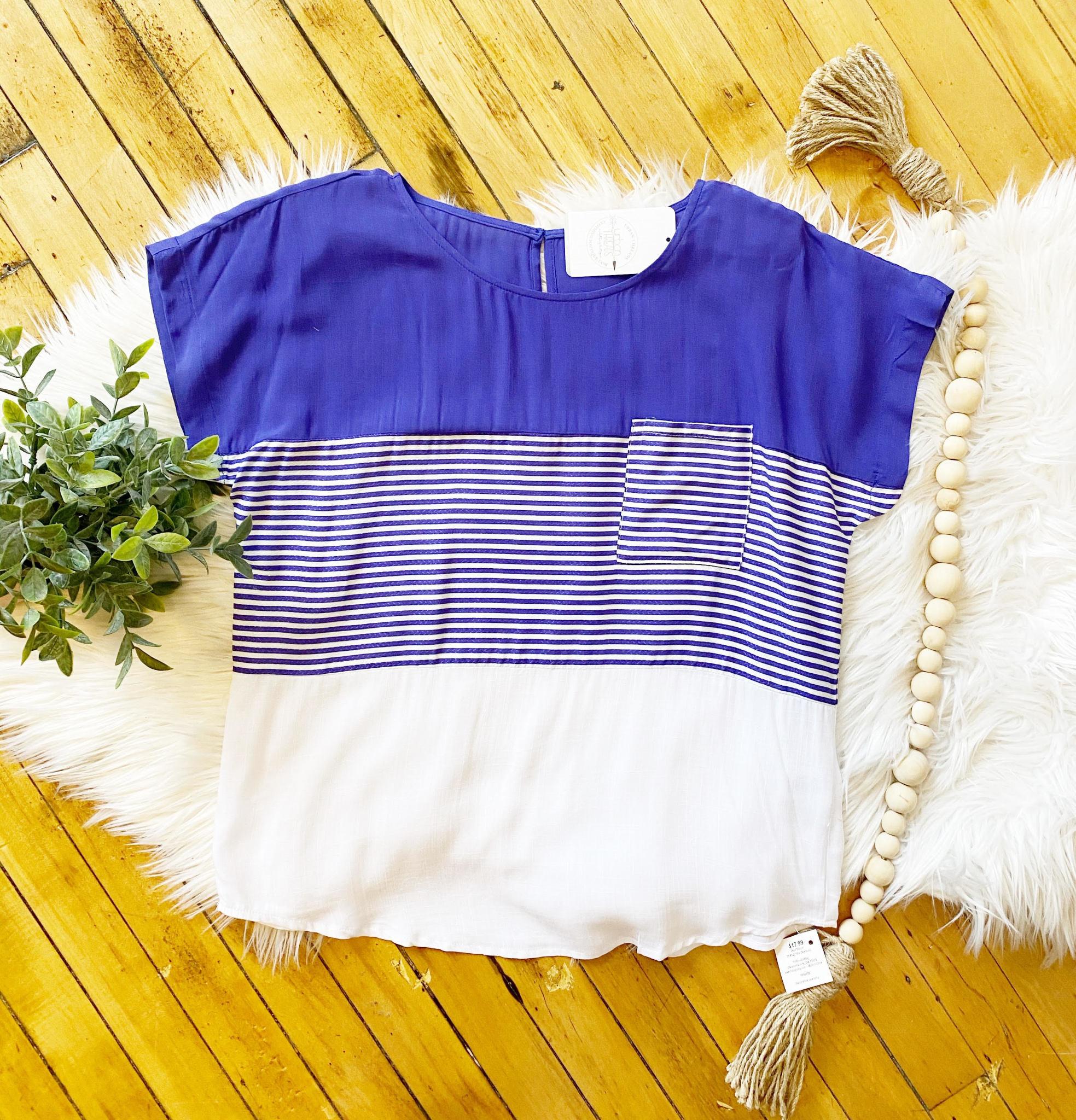 Ava Blue Striped Top