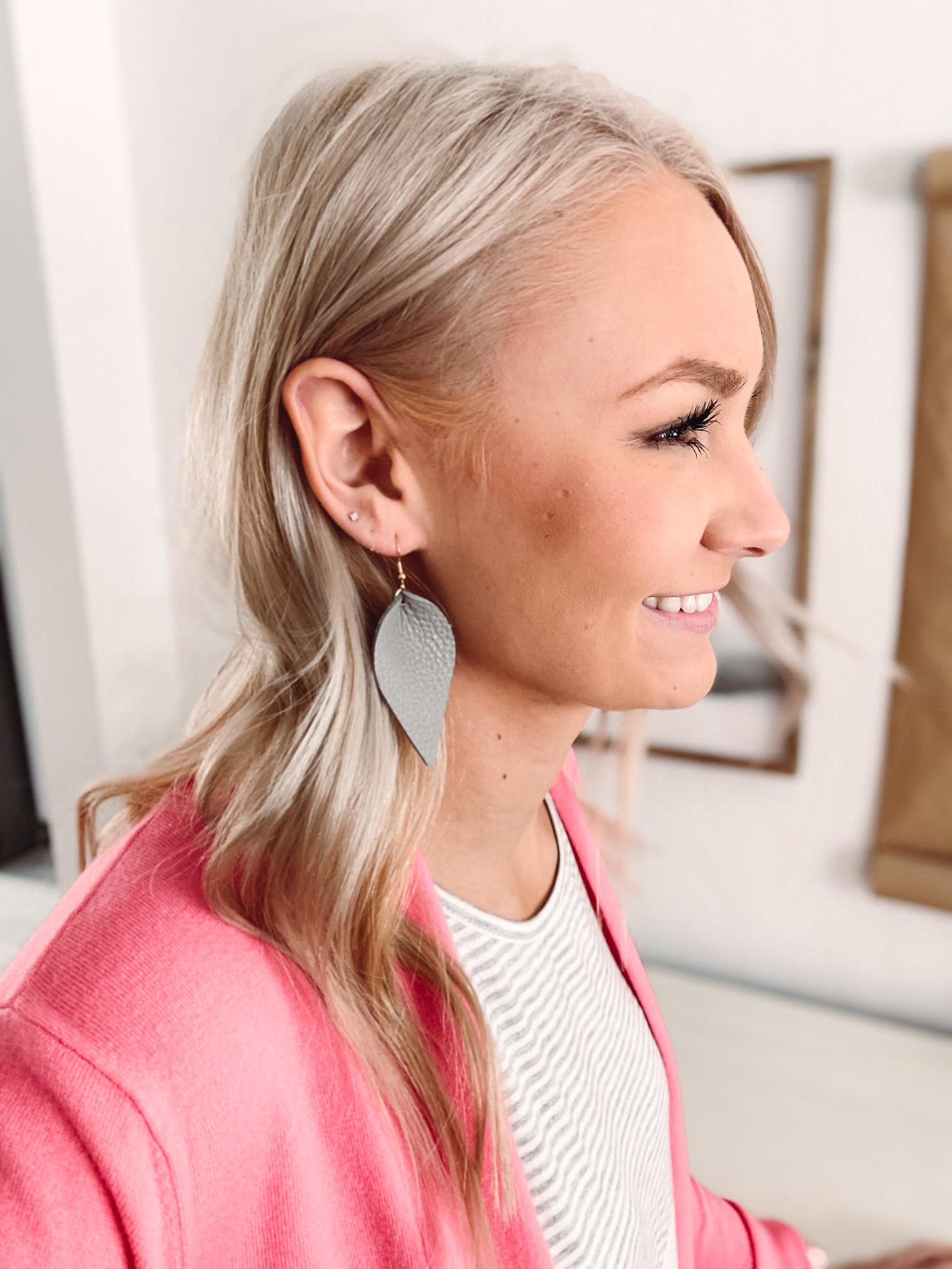 Kayla Gray Leather Earrings