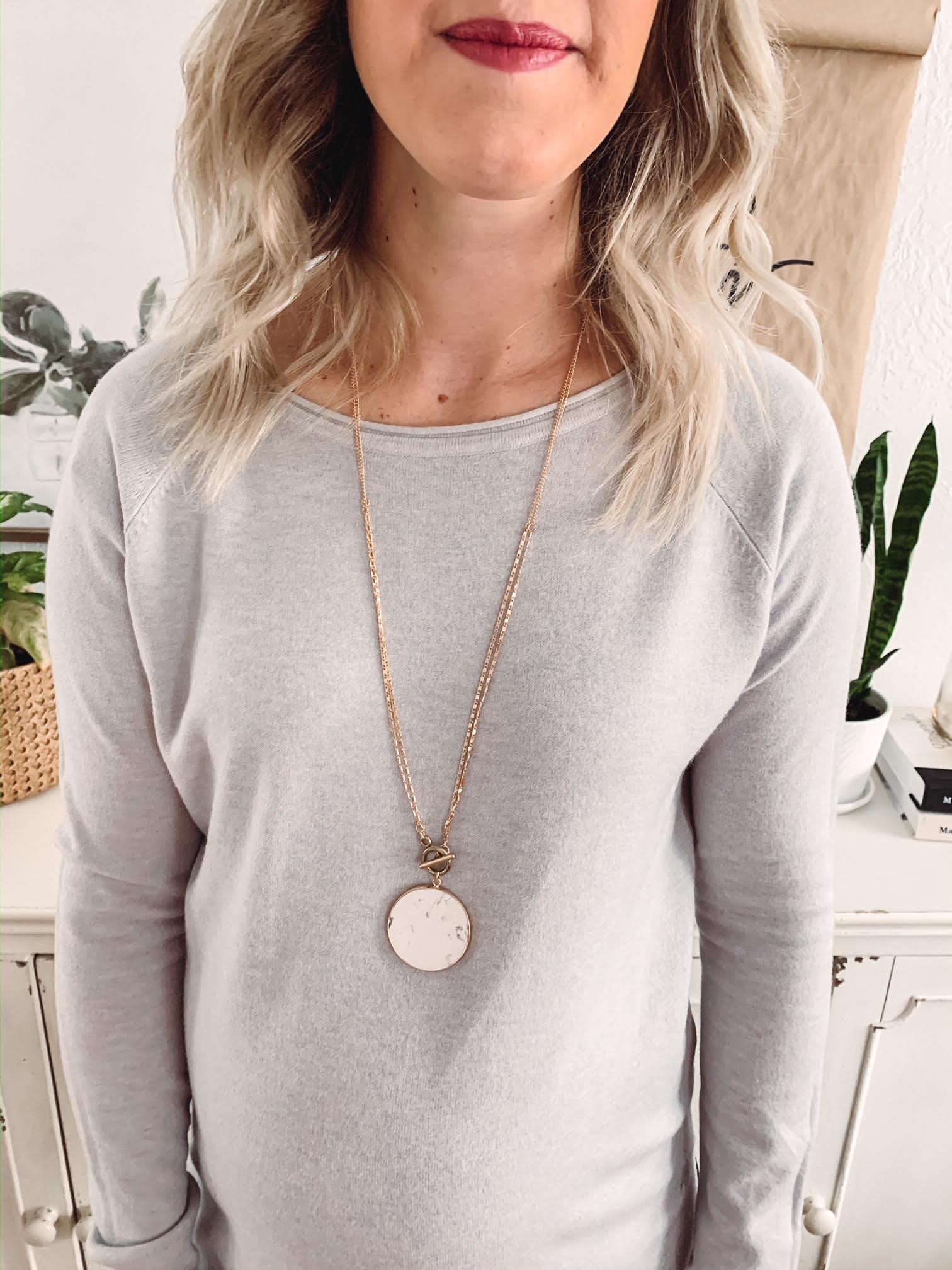 Olivia White Pendant Necklace