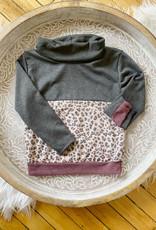 Girls Leopard + Burgundy Sweatshirt