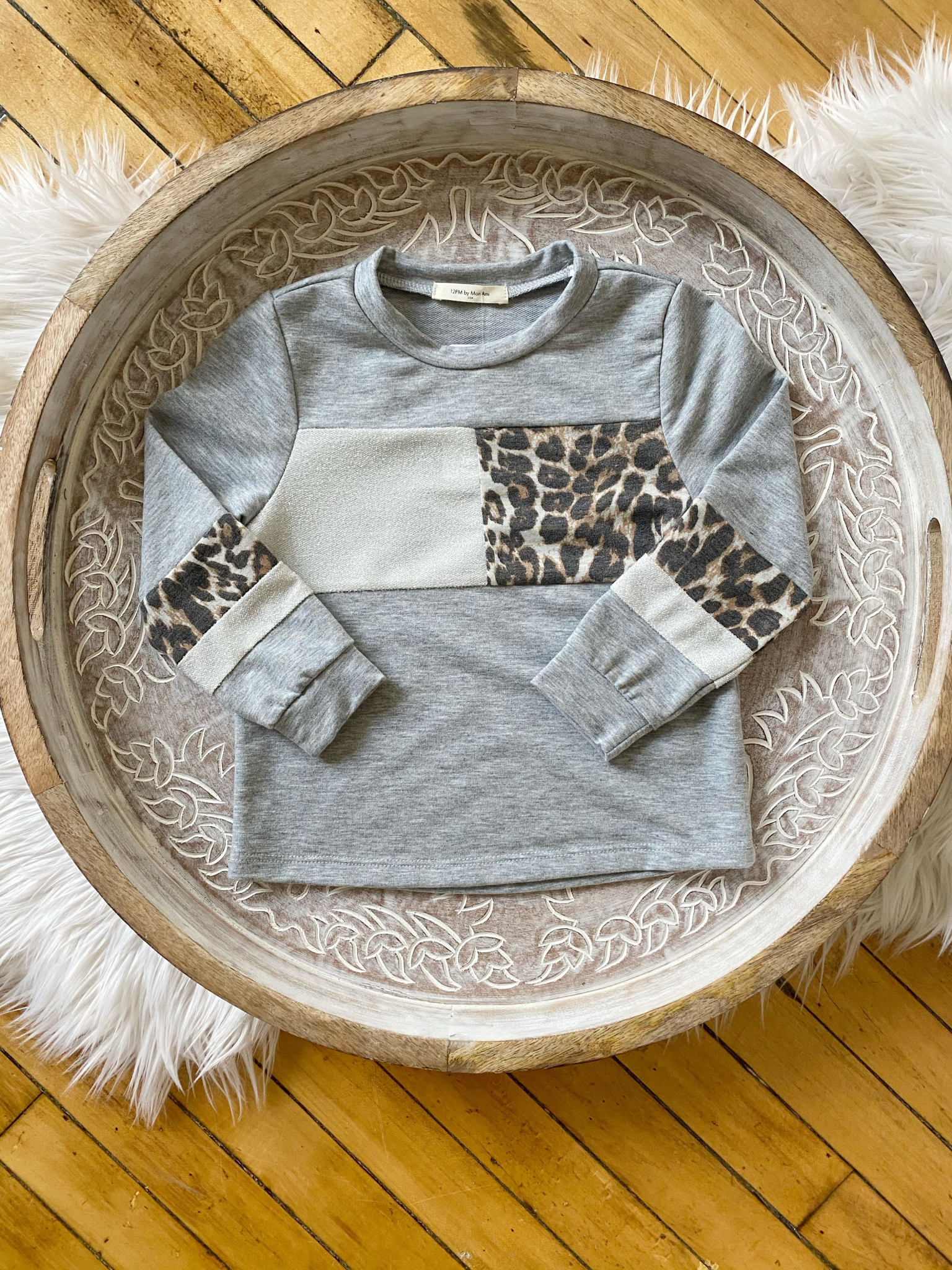 Girls Leopard + Glitter Sweatshirt