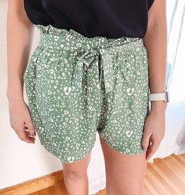 Mia Olive Leopard Tie Shorts