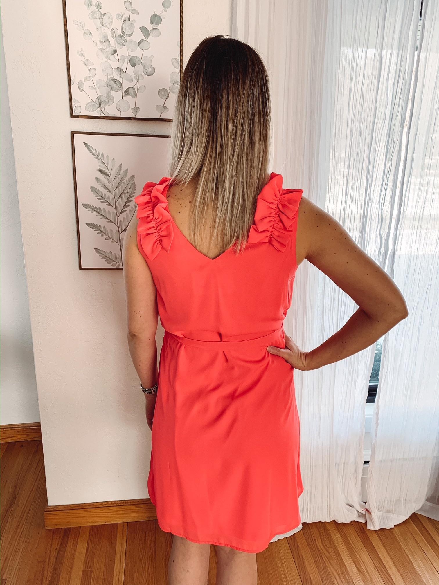 Coral Ruffle Tank Dress