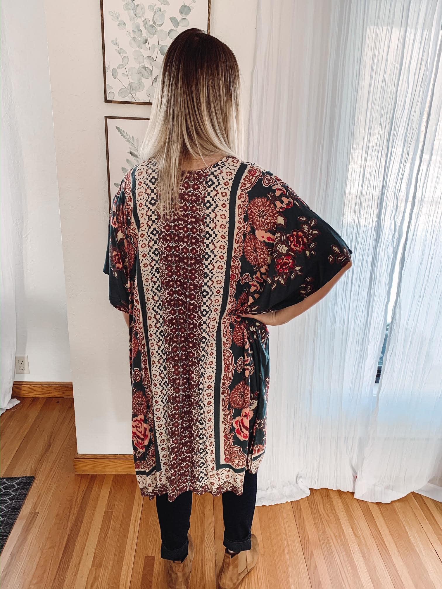 Sadie Teal Floral Kimono