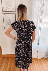 Black Printed Belted Dress