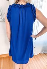 Royal Blue Ruffle Tank Dress