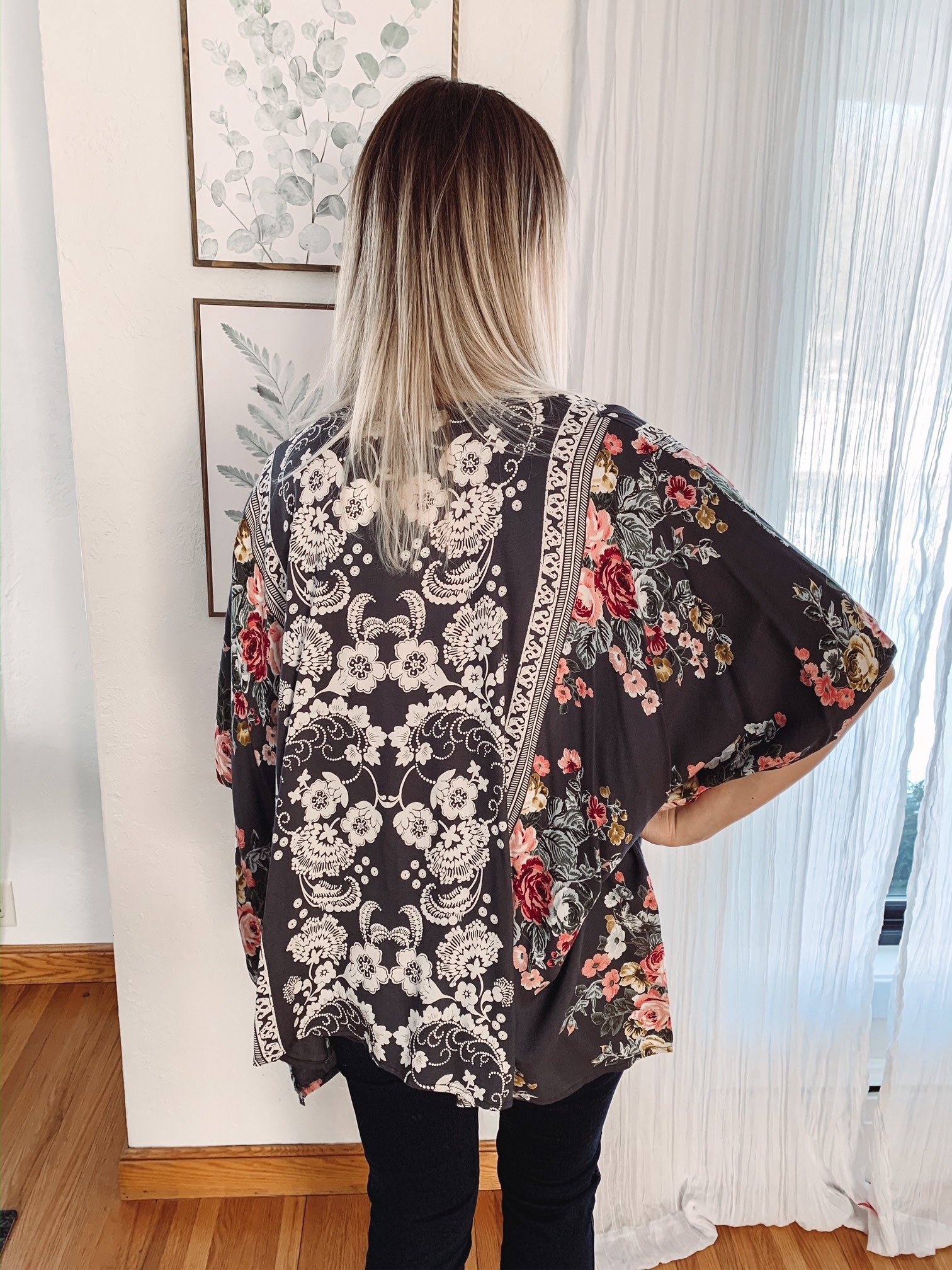 Maren Charcoal Floral Kimono