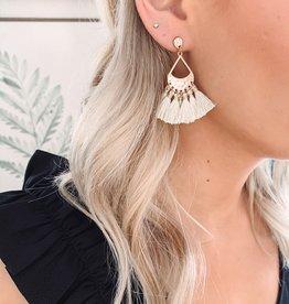 Mia Ivory Tassel Earrings