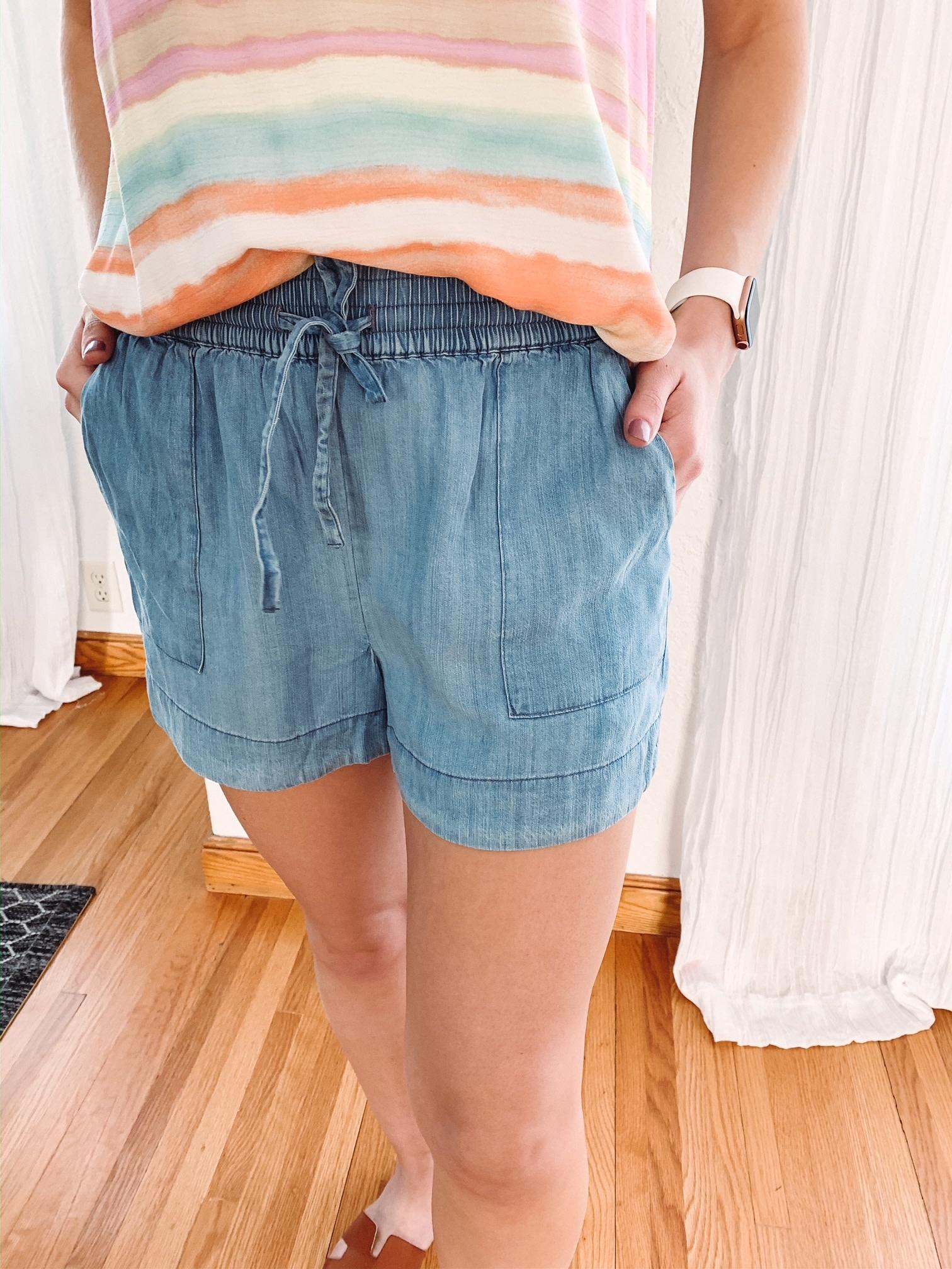 Sam Denim Tie Waist Shorts