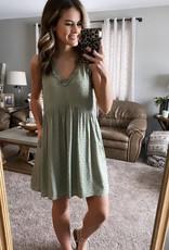Olive Swiss Dot Tank Dress