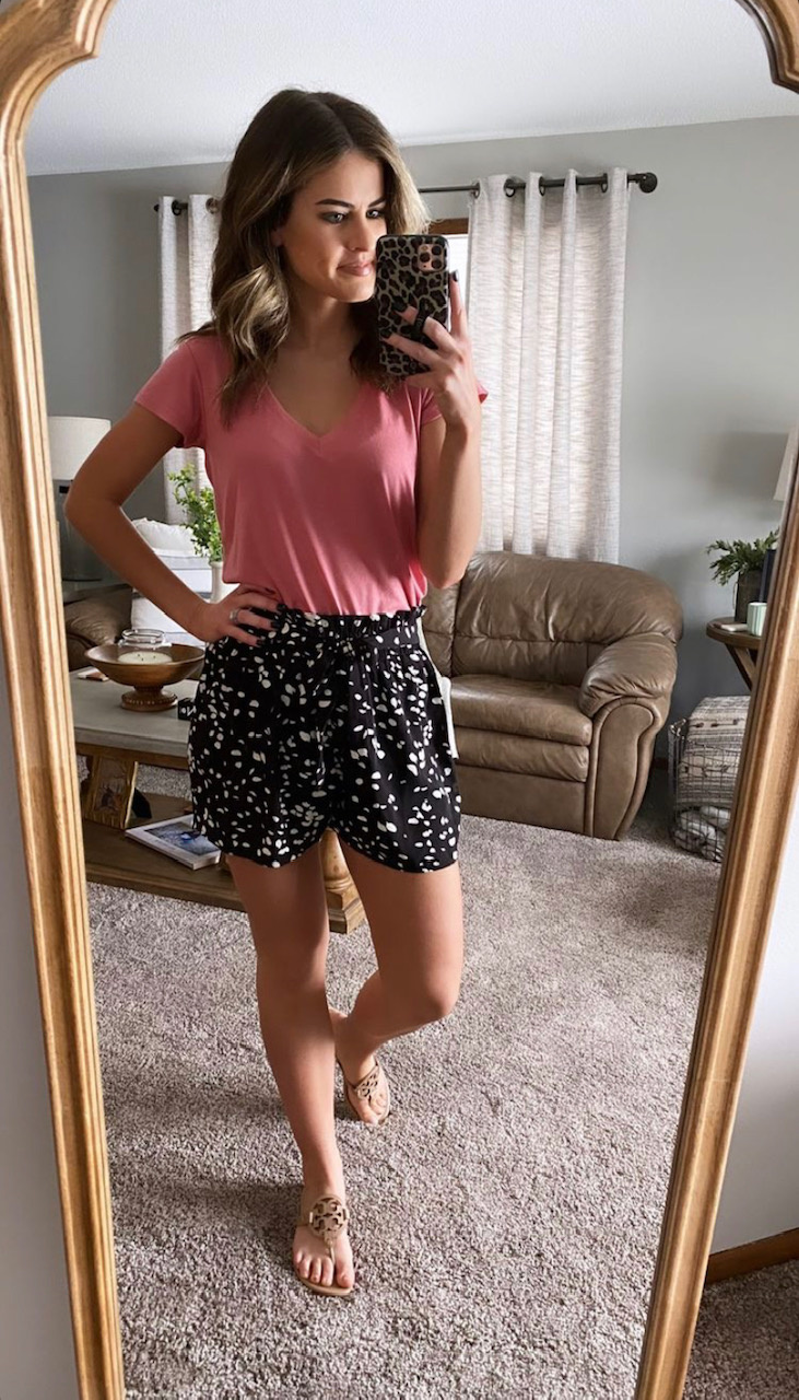 Lillian Black Spotted Tie Shorts