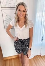 Mia Black Leopard Tie Shorts