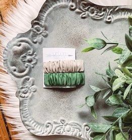 Taupe + Green Barettes