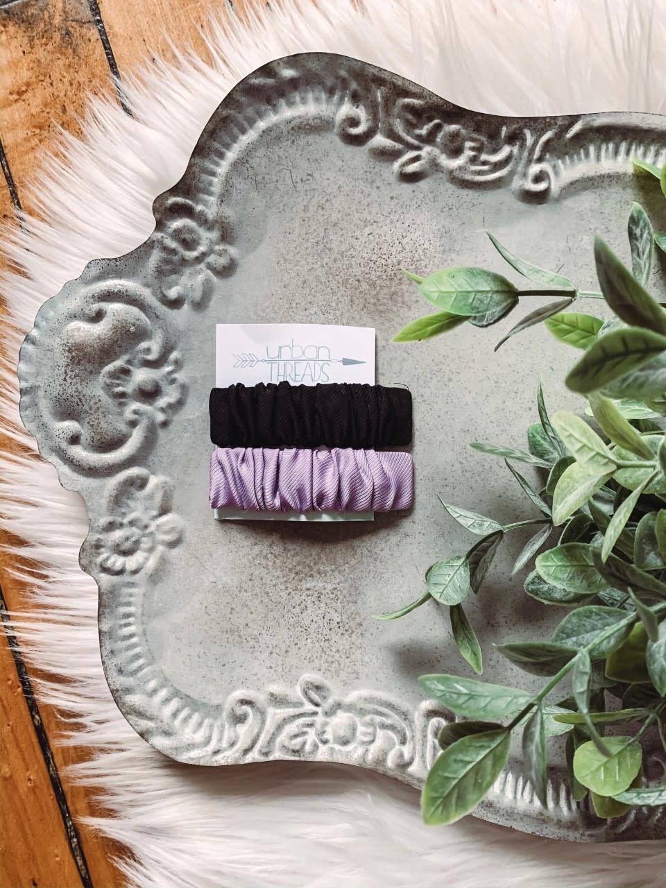 Black + Lavender Barettes