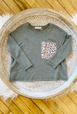 Girls Olive Leopard Pocket Tee