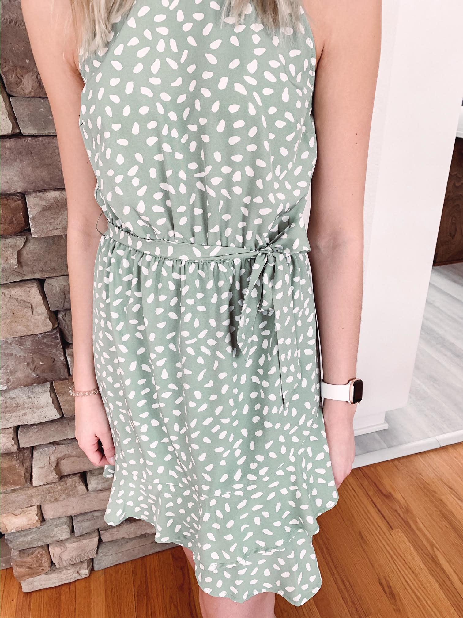 Gemma Sage Spotted Dress