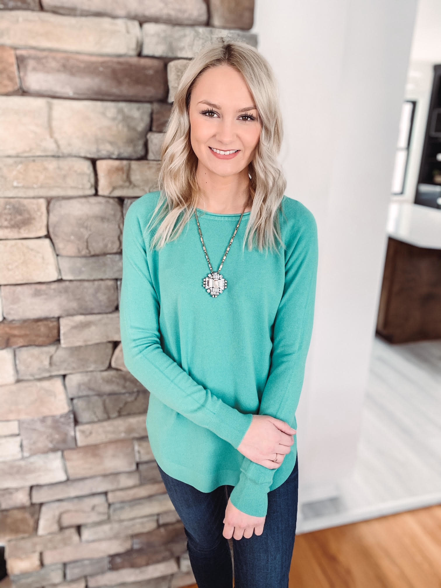 Hallie Light Jade Sweater