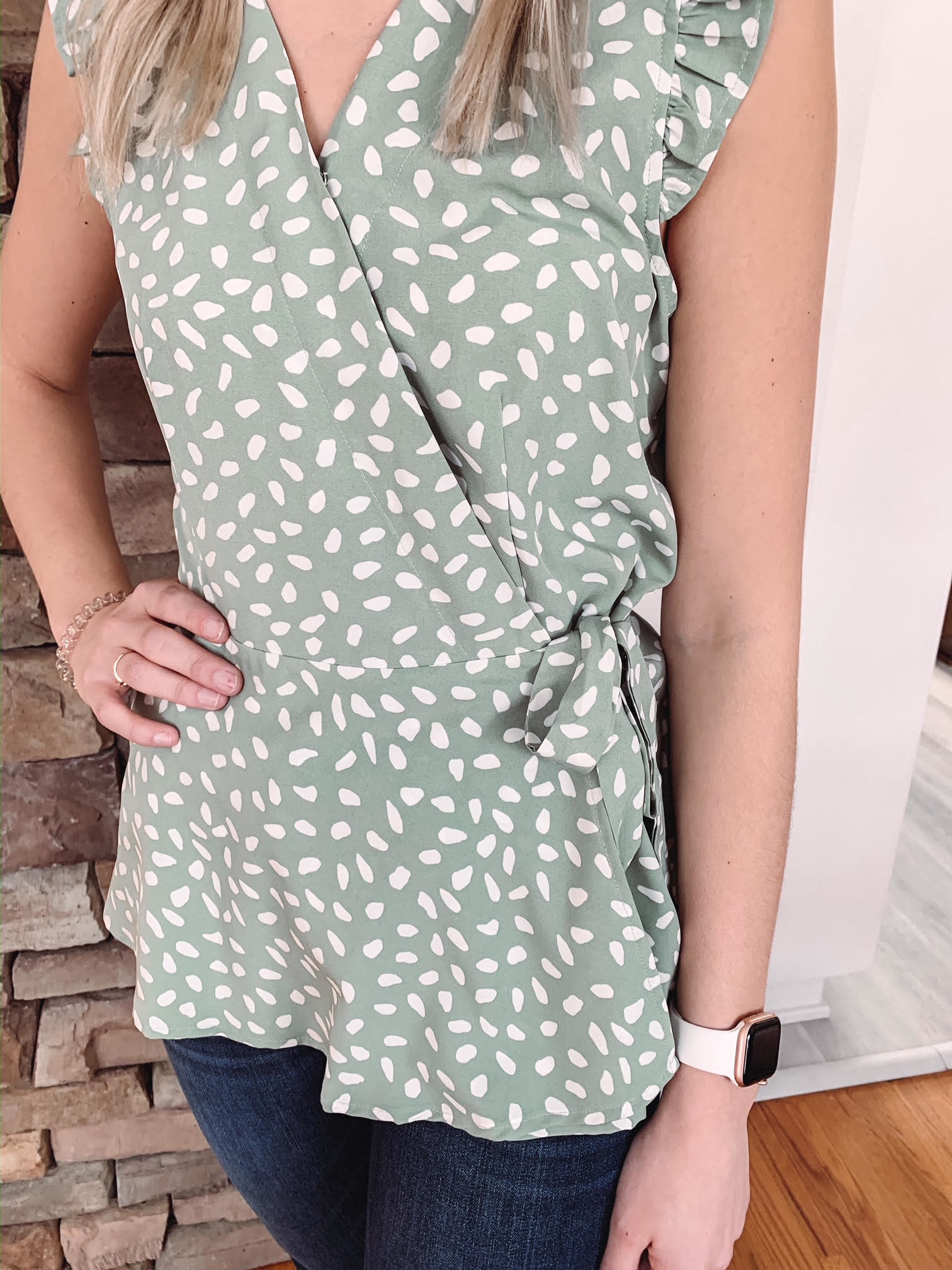 Sage Spotted Wrap Tank