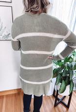 Megan Sage Striped Cardigan
