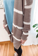 Megan Mocha Striped Cardigan