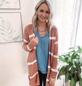 Megan Terracotta Striped Cardigan