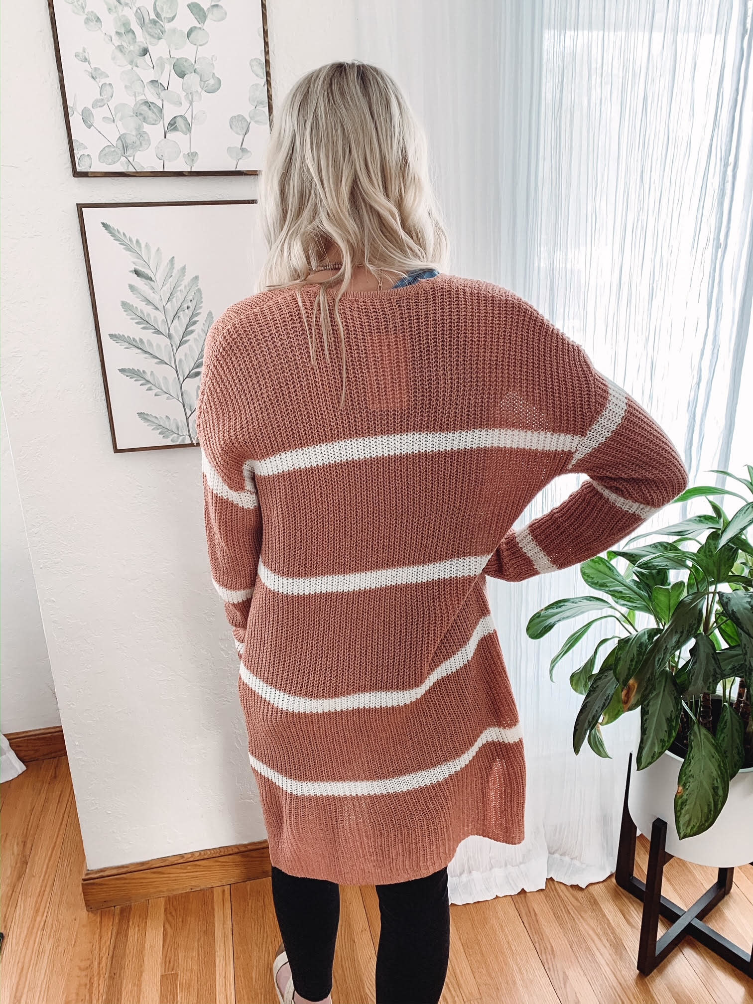 Megan Terracotta Striped Cardigan