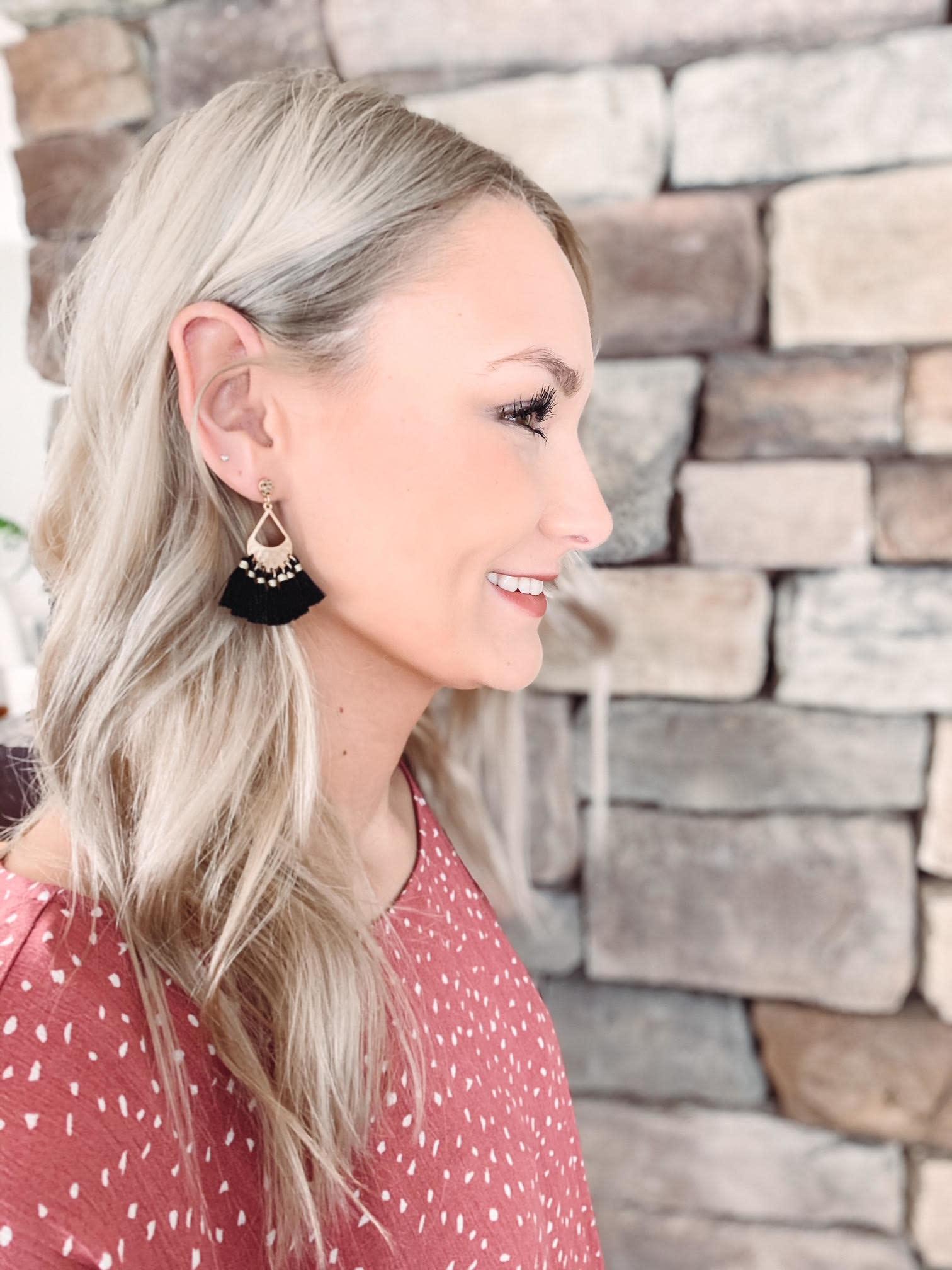 Mia Black Tassel Earrings