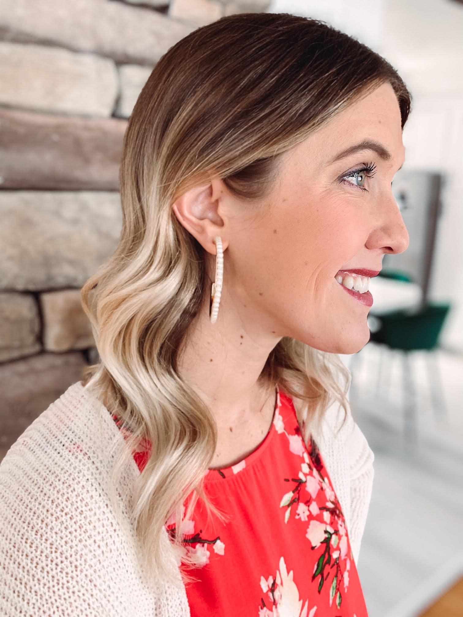 Ava Pearl Hoop Earrings