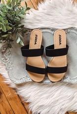 Double Strap Black Sandal