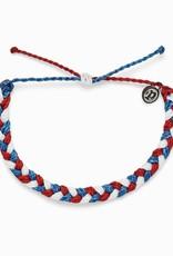 PuraVida Red, White + Blue Braided Bracelet