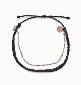 PuraVida Satellite Chain Black Anklet