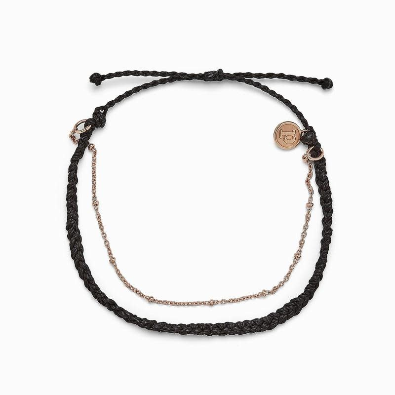 PuraVida Satellite Chain Black Anklet