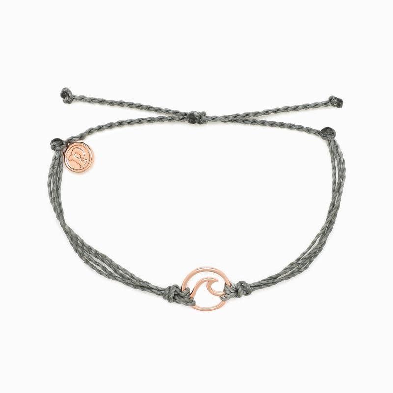PuraVida Rose Gold Wave Grey Bracelet