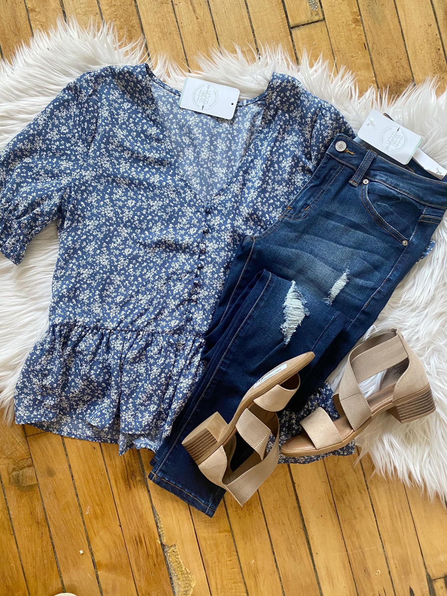 Charlie Blue Floral Blouse