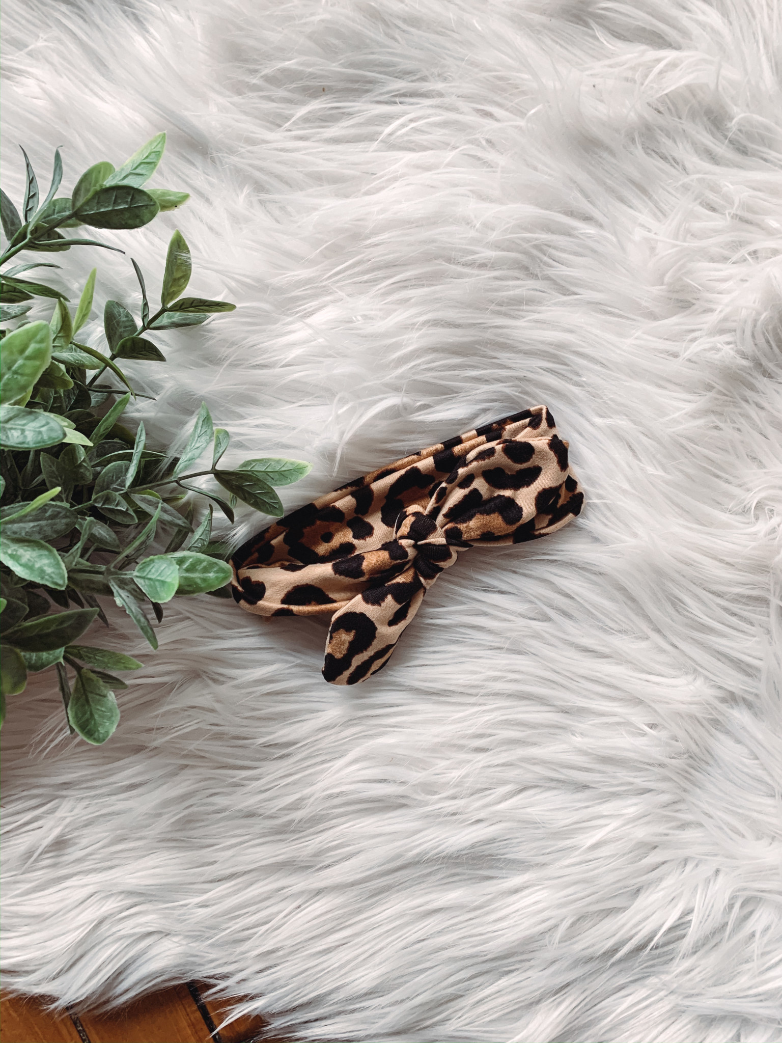 Tan Leopard Bow Headband
