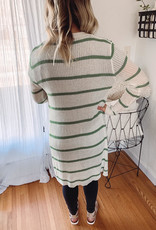 Talia Sage Striped Cardigan