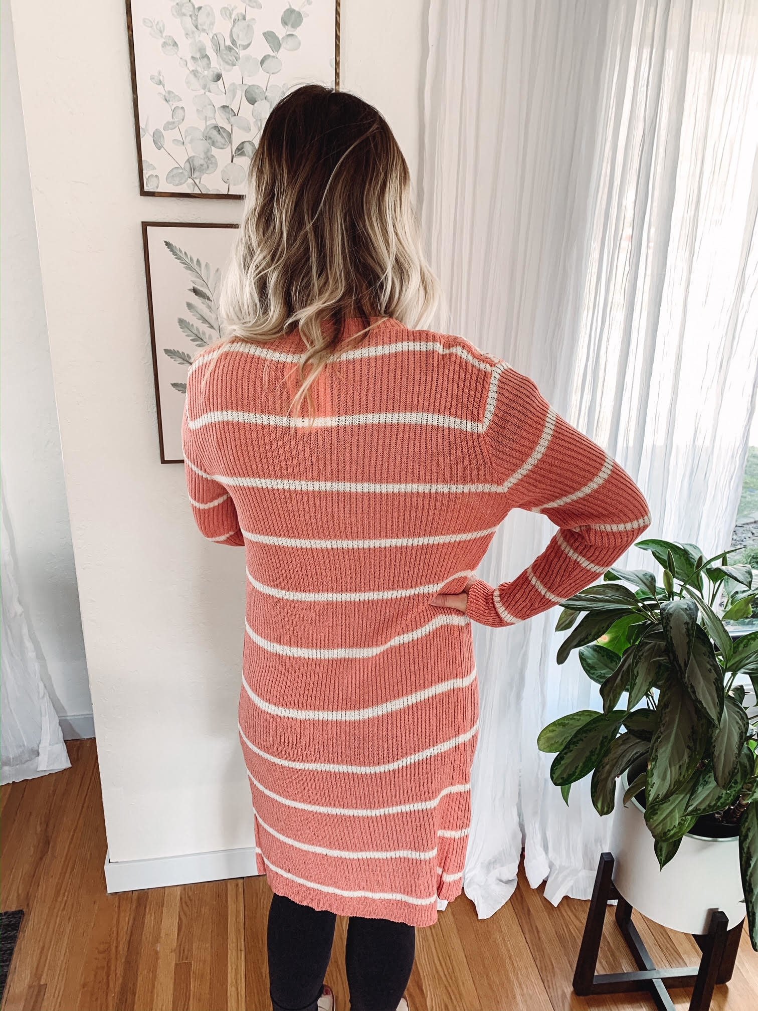 Talia Coral Striped Cardigan